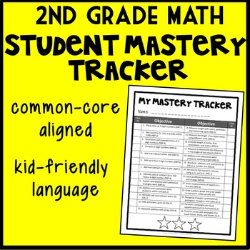 Second Grade Math Student Mastery Tracker, Self-Tracker, Parent Mastery Tracker