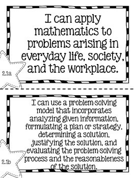 "Second Grade Math TEKS ""I Can"" Statements"