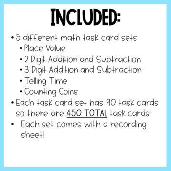 Second Grade Math Task Cards