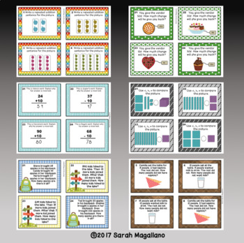 Second Grade Math Task Cards BUNDLE!