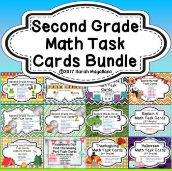 Second Grade Math Task Cards BUNDLE!