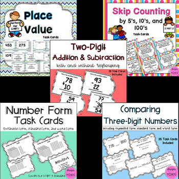Second Grade Math Task Cards Bundle- 2.NBT.1-2.NBT.9