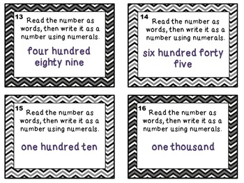 Math Task Cards: Numbers & Operation in Base 10 (Second Grade)