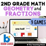 Second Grade Math Unit 10: Geometry and Fractions Boom Card Bundle