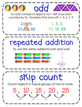 Second-Grade Math Vocabulary {My Math Series - Unit 2 & 3}{CCSS aligned}
