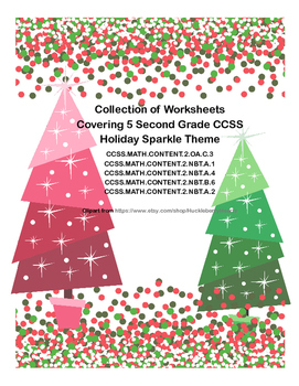Second Grade Math Worksheets -5 Common Core State Standards-Holiday Sparkle