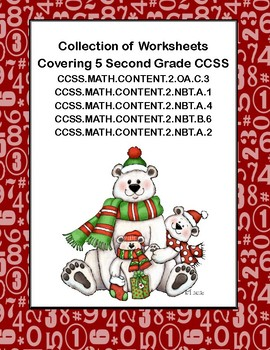 Second Grade Math Worksheets -5 Common Core State Standards-Polar Bear Theme
