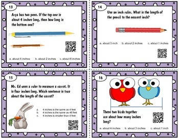 Measure length (INCHES) QR word problem task cards - Tek 2.9 A-E or CC MD.A.1-4