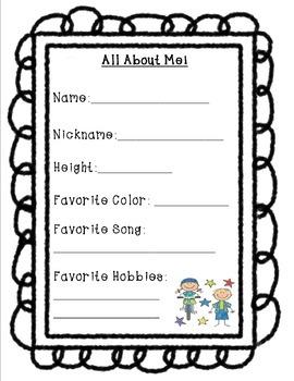 Second Grade Memory Book Activity