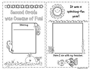 Second Grade Memory Book and Certificate - Ocean Theme - EDITABLE