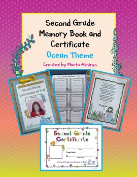 Second Grade Memory Book and Certificate - Ocean Theme - EDITABLE