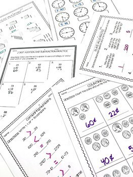 Second Grade Mid-Year Math Review Pack