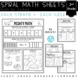 Second Grade Spiral Review Math Worksheets {Weekly CC Aligned Sheets }