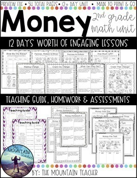 Second Grade Money Unit Digital and Distance Learning