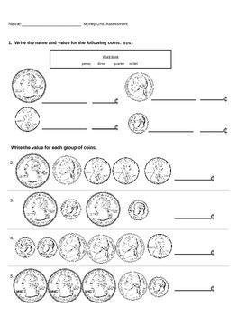 Second Grade Money Unit Assessment