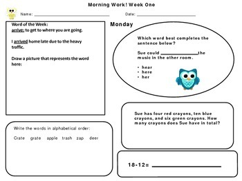 Second Grade Morning Work August