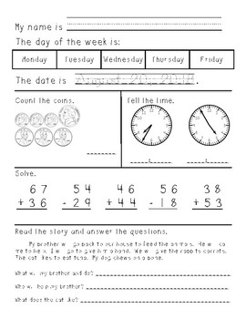 Second Grade Morning Work August through December