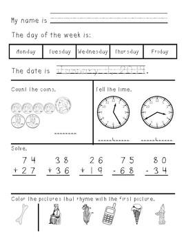 Second Grade Morning Work January through June - growing bundle