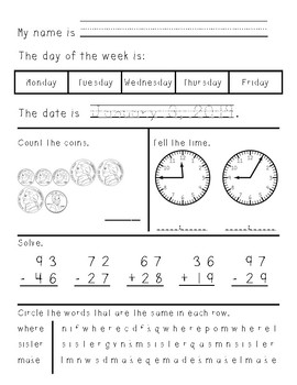 Second Grade Morning Work January through June
