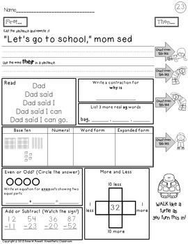 Second Grade Morning Work & Movement - Spiral Review or Homework - October Set 2