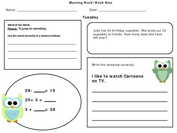 Second Grade Morning Work October