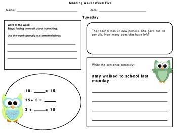 Second Grade Morning Work September