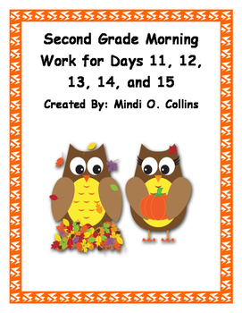 Second Grade Morning Work for Days 11, 12, 13, 14, and 15