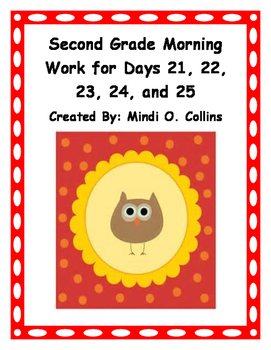 Second Grade Morning Work for Days 21, 22, 23, 24, and 25