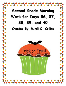 Second Grade Morning Work for Days 36, 37, 38, 39, and 40