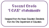 "Second Grade Music ""I CAN"" Statements"