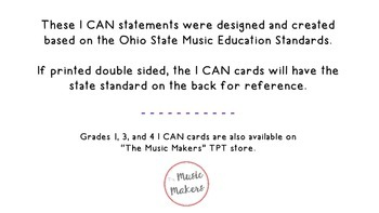 """Second Grade Music """"I CAN"""" Statements"""