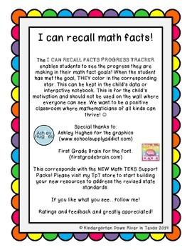 Second Grade NEW Math TEKS 2.4A: I Can Recall Math Facts Progress Tracker