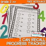 Second Grade NEW Math TEKS 2.4A: I Can Recall Math Facts Progress Tracker