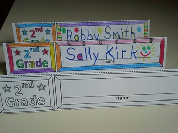 Second Grade Name Cards Foldable and Standable