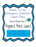 Second Grade No Prep Editable Elementary Substitute Emergency Lesson Plan, Day 2