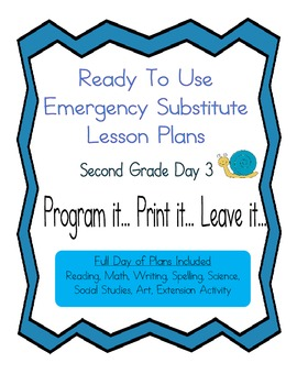 Second Grade No Prep Editable Elementary Substitute Emergency Lesson Plan, Day 3