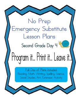 Second Grade No Prep Editable Elementary Substitute Emergency Lesson Plan, Day 4