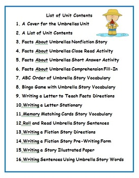 Second Grade Spring Umbrella Activities