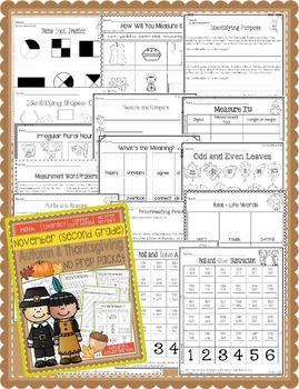 Second Grade November / Thanksgiving Common Core No Prep Packet