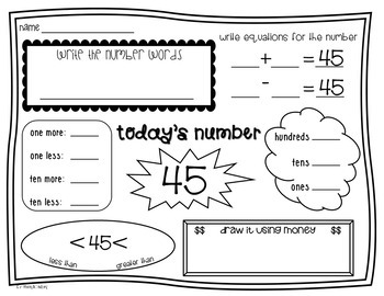 Second Grade Number of the Day Wroksheets {NO PREP!} Packet