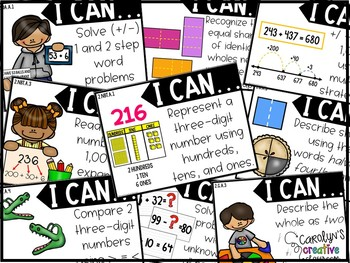 """Second Grade Objectives - """"I can"""" posters Common Core"""