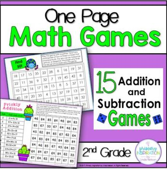 Second Grade One Page Math Games Addition and Subtraction