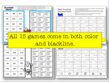 Second Grade One Page Place Value Games