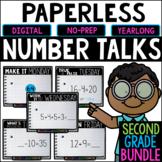 Second Grade PAPERLESS Number Talks- A YEARLONG BUNDLE