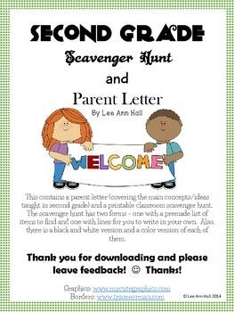 Second Grade Scavenger Hunt and Parent Information