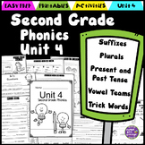 Second Grade Phonics Unit 4 - Suffixes, Vowel Teams, Trick Words