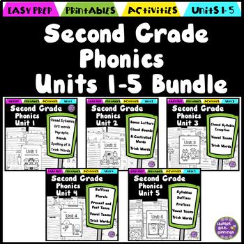 Second Grade Phonics Units 1-5 Bundle Distance Learning Printables