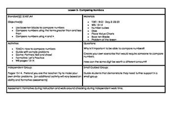 Second Grade Place Value Math in Focus Lesson Plans