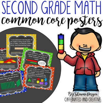 Second Grade Math Common Core Posters in Chalkboard and Polka Dot