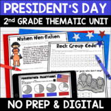 President's Day Literacy and Math: No Prep Second Grade